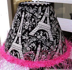 Child Lamp Shade Michael Miller Eiffel Tower Black White Hot Pink Paris  Baby | EBay