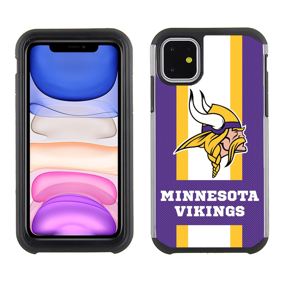 Iphone 11 6 1 Inch Dual Layer Pebble Series Stripes Team Case Minnesota Vikings Iphone 11 Minnesota Vikings Iphone