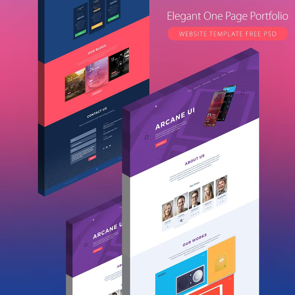 Free Psd Website Creative Template: Elegant One Page Creative Agency Portfolio Template Free
