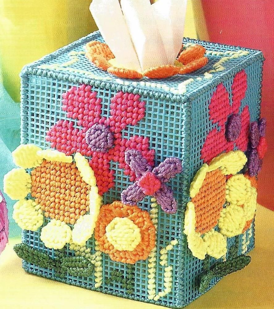 SUMMER FLORAL EXPLOSION TISSUE BOX COVER. PATTERN IS IN A