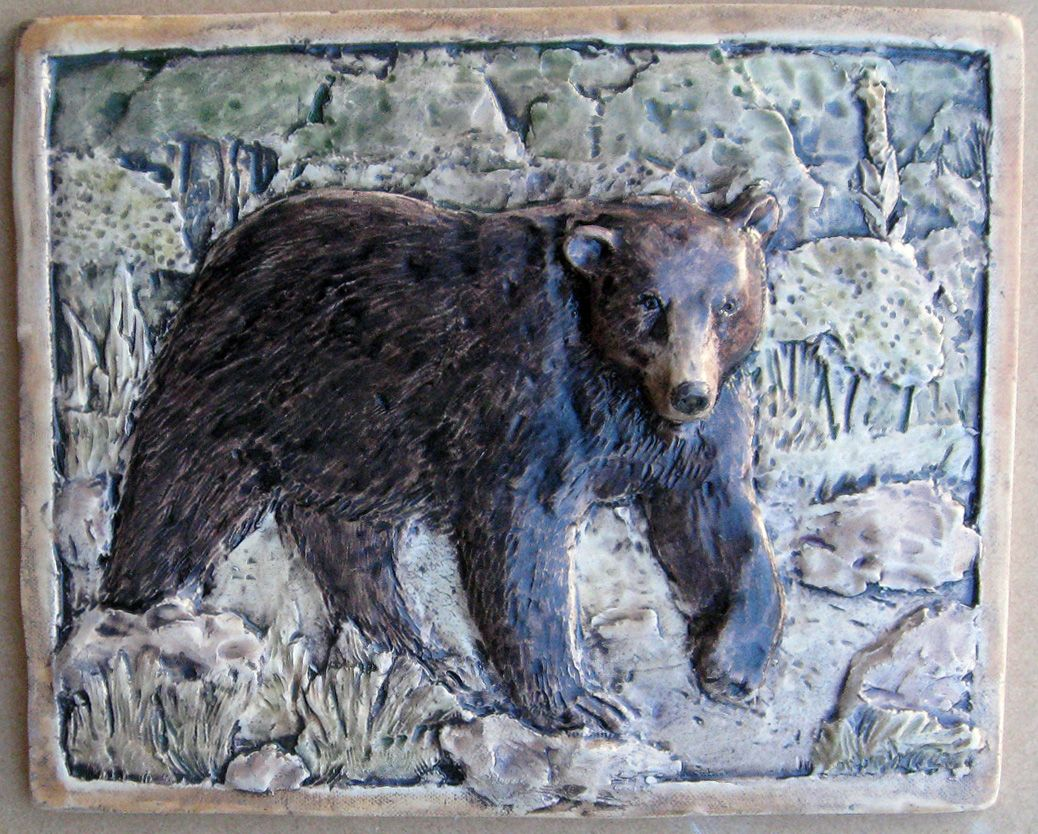 Bear relief ceramic tile handcrafted 8 x 10 85 american bear relief ceramic tile handcrafted 8 x 10 85 dailygadgetfo Images