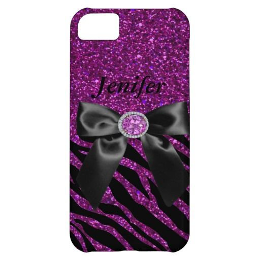 purple Sparkles & Glitter zebra print iPhone 5 case