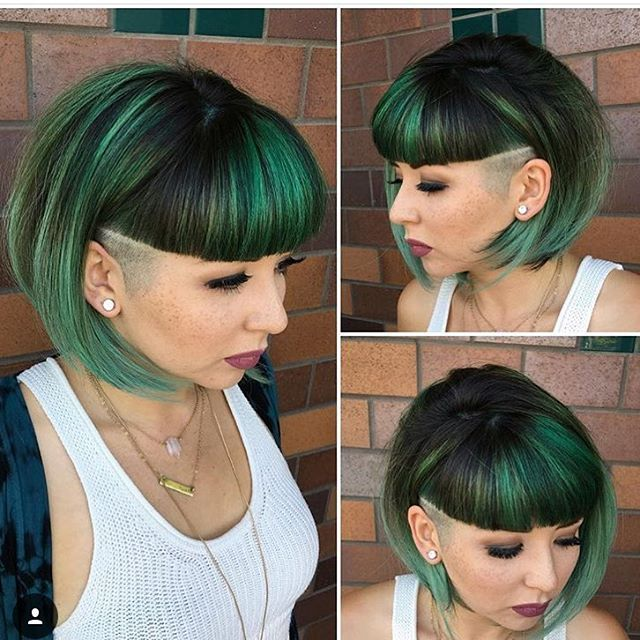 Low Cut Hairstyles For Black Females: Bob With Blunt Bangs And Side Shave