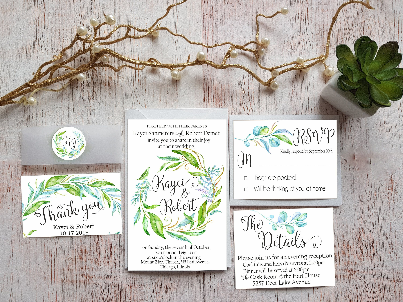Wedding Invitations Suite Greenery Personalized Wedding Invitation ...
