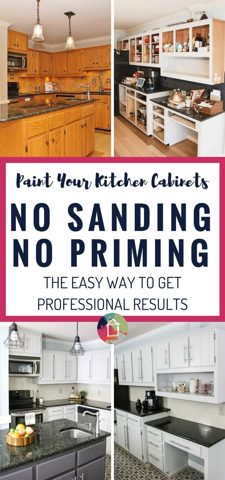 How To Paint Kitchen Cabinets Without Sanding Or Priming Step By Step Kitchen Diy Makeover Diy Kitchen Cabinets Painting Kitchen Cabinets