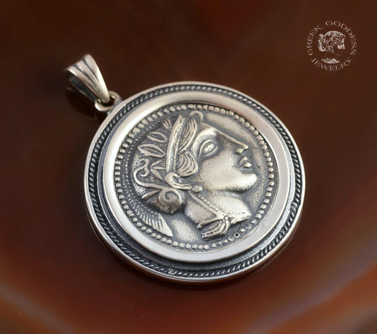 Athena silver pendant athena pendant ancient coin pendant coin athena silver pendant athena pendant ancient coin pendant coin pendant greek coin mozeypictures Choice Image