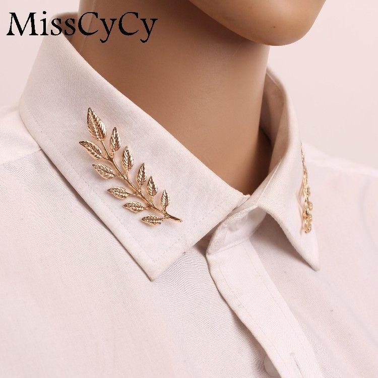 MissCyCy 2016 Neue Hochzeit Schmuck Anzug hemd Kragen Pin Gold Farbe/Silber Blätter Broschen Pins Für Frauen