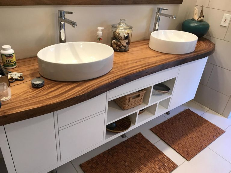 Live edge natural monkeypod slab bathroom counter with ...