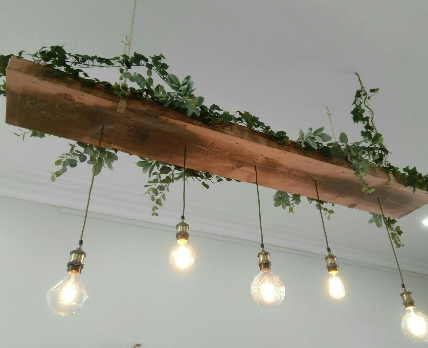 Recycled Timber Light Feature With Vintage Looking Led Lamps And Greenery Salon Interior Design Wood Light Fixture Recycle Timber