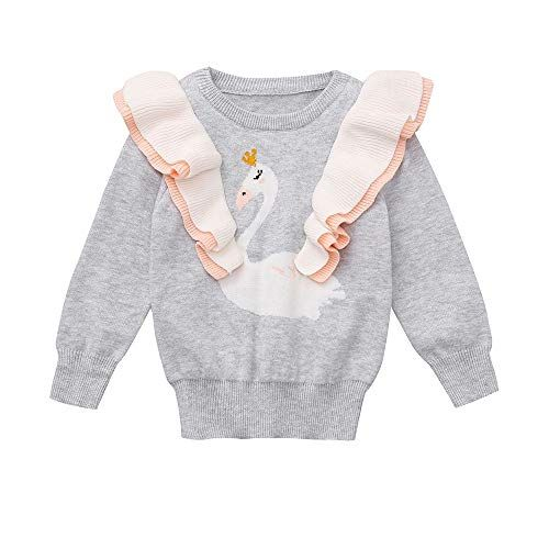 7dd8e005bbba Baby Toddler Girls Fall Winter Warm Clothes Knitted Sweater Kids Cartoon  Swan Ruched Tops Pullover 1-5 Years Old (12-18 Months, Gray)
