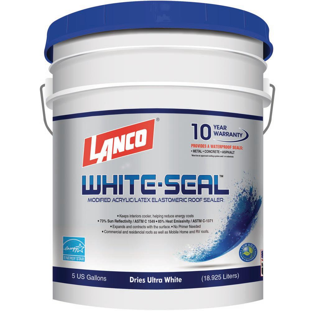 Lanco 5 Gal White Seal 100 Acrylic Elastomeric Reflective Roof Coating With High Dirt Pick Up Resistance Rc865 2 The Home Depot Elastomeric Roof Coating Roof Coating Roof Sealer