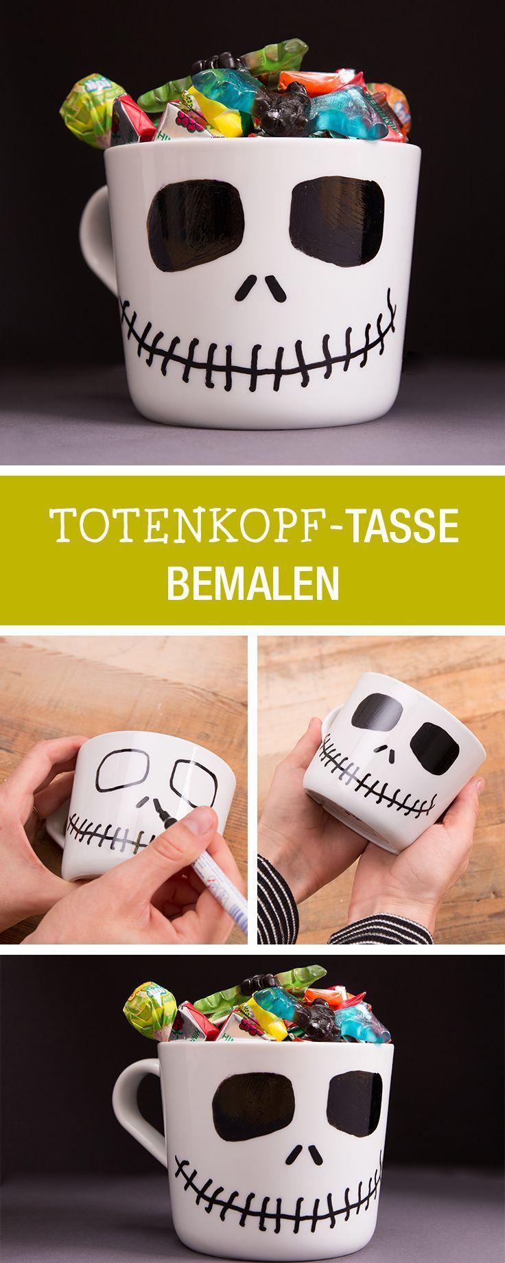 Halloween-Deko selbermachen: Tasse als Totenkopf bemalen. Ein lustig grusliges DIY Projekt für 's Kind. #halloweendekobasteln