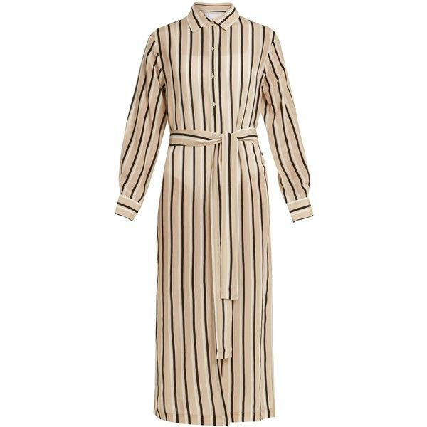Point-collar striped silk-crepe shirtdress Asceno j7AoY