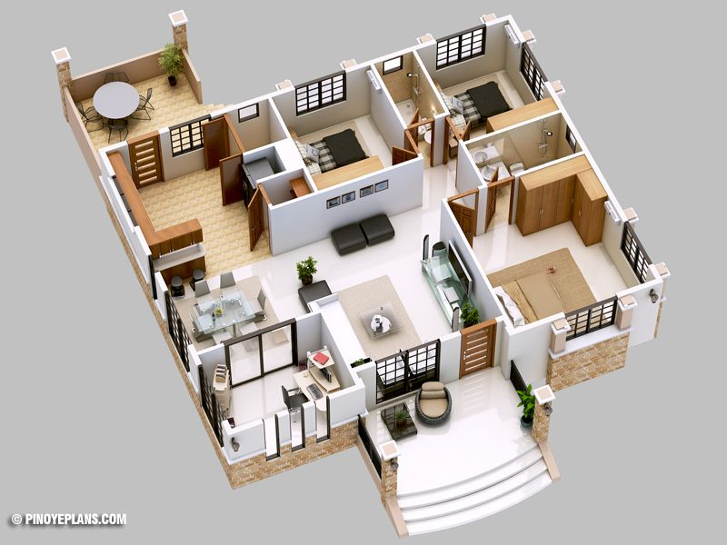 Three Bedroom Bungalow House Design Pinoy Eplans Bungalow House Design Bungalow House Floor Plans Home Design Floor Plans