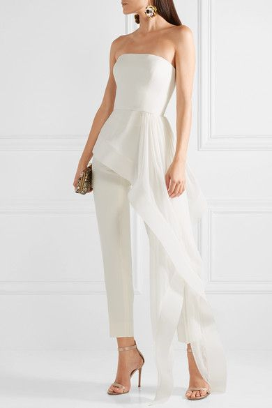 Reem Acra - Asymmetric silk-crepe and chiffon bustier top