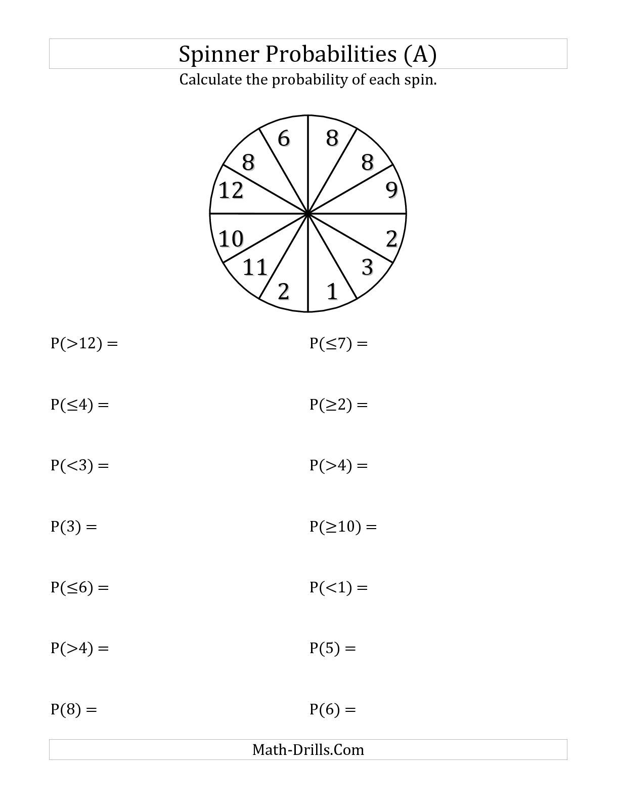 The 12 Section Spinner Probabilities (a) Math Worksheet From The Math Inequalities Worksheets The 12 Section Spinner Probabilities (a) Math Worksheet From The Statistics Worksheet Page At Math Drills Com