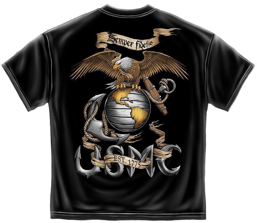 US Marines t-shirt black on blue marine corp design men/'s marine corps tee