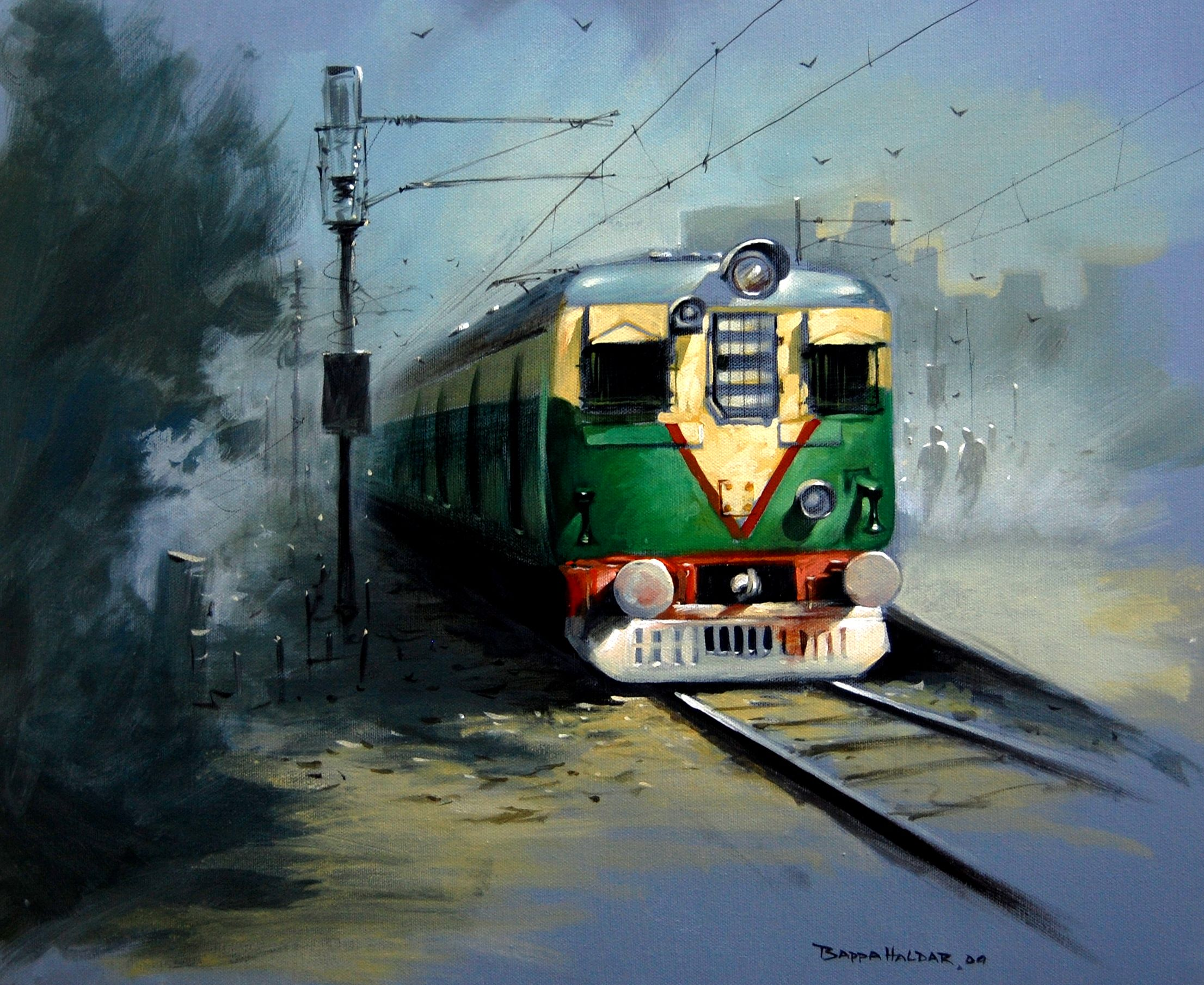 Morning Train - Draw Bappa Haldar 700 Online