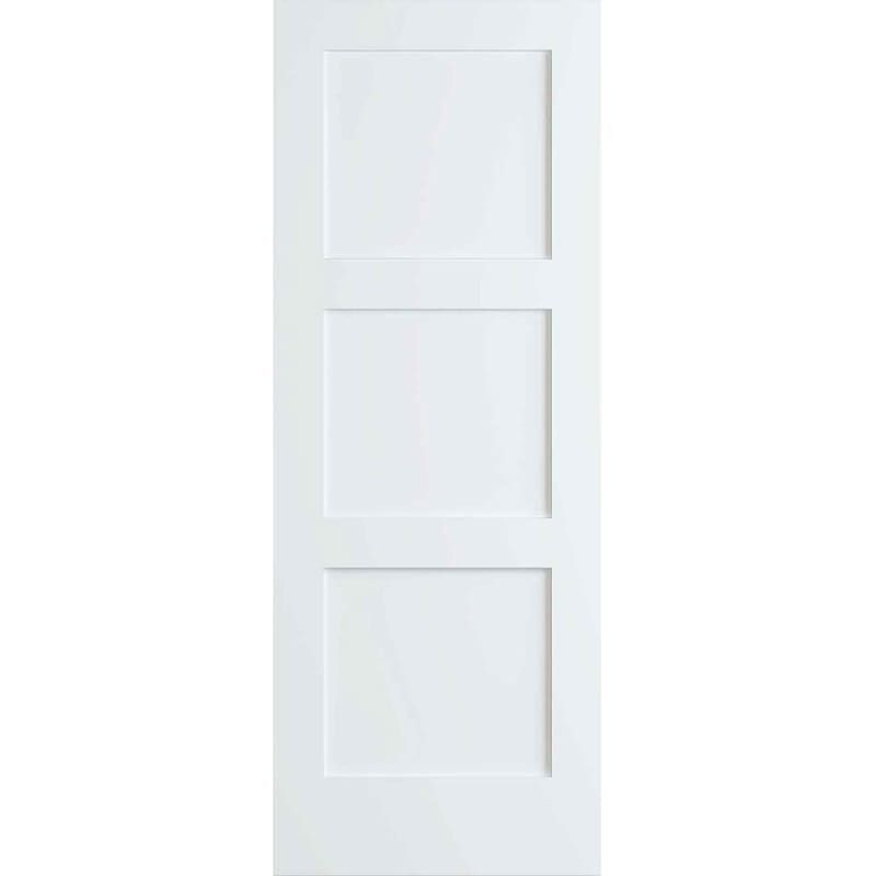 Frameport Fa 3339130w Primed Shaker 30 Inch By 96 Inch Flat 3 Panel Interior Slab Passage Door Primed Doors Paneling Doors Interior