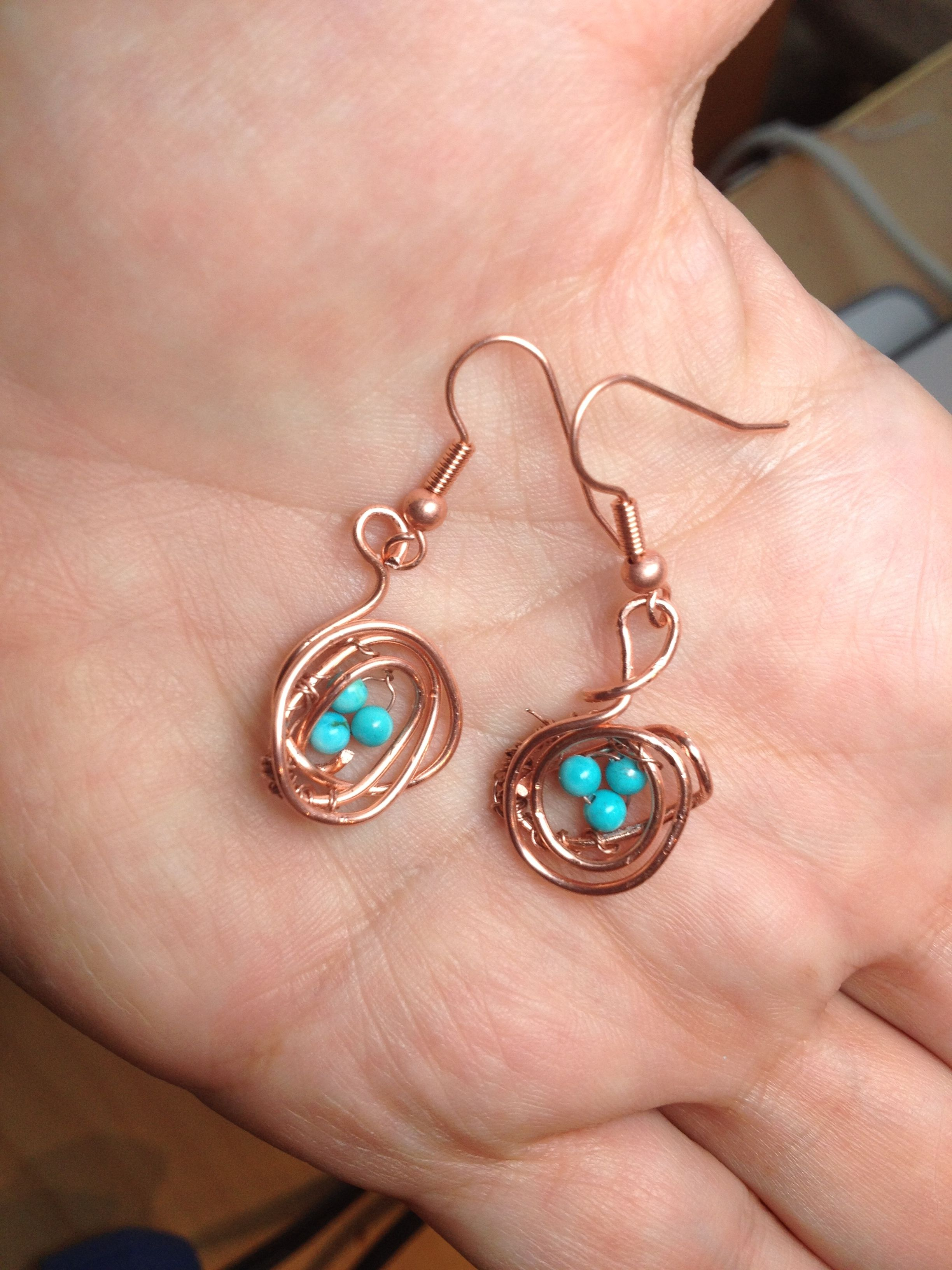 Tiny Turquoise eggs in a copper nest, earrings...  I love these :-)