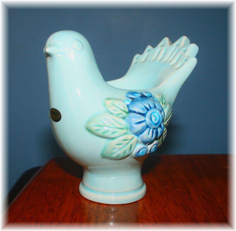 Vintage ROSA LJUNG DOVE Figurine DECO CANDLE HOLDER Handpainted Bird Sticker