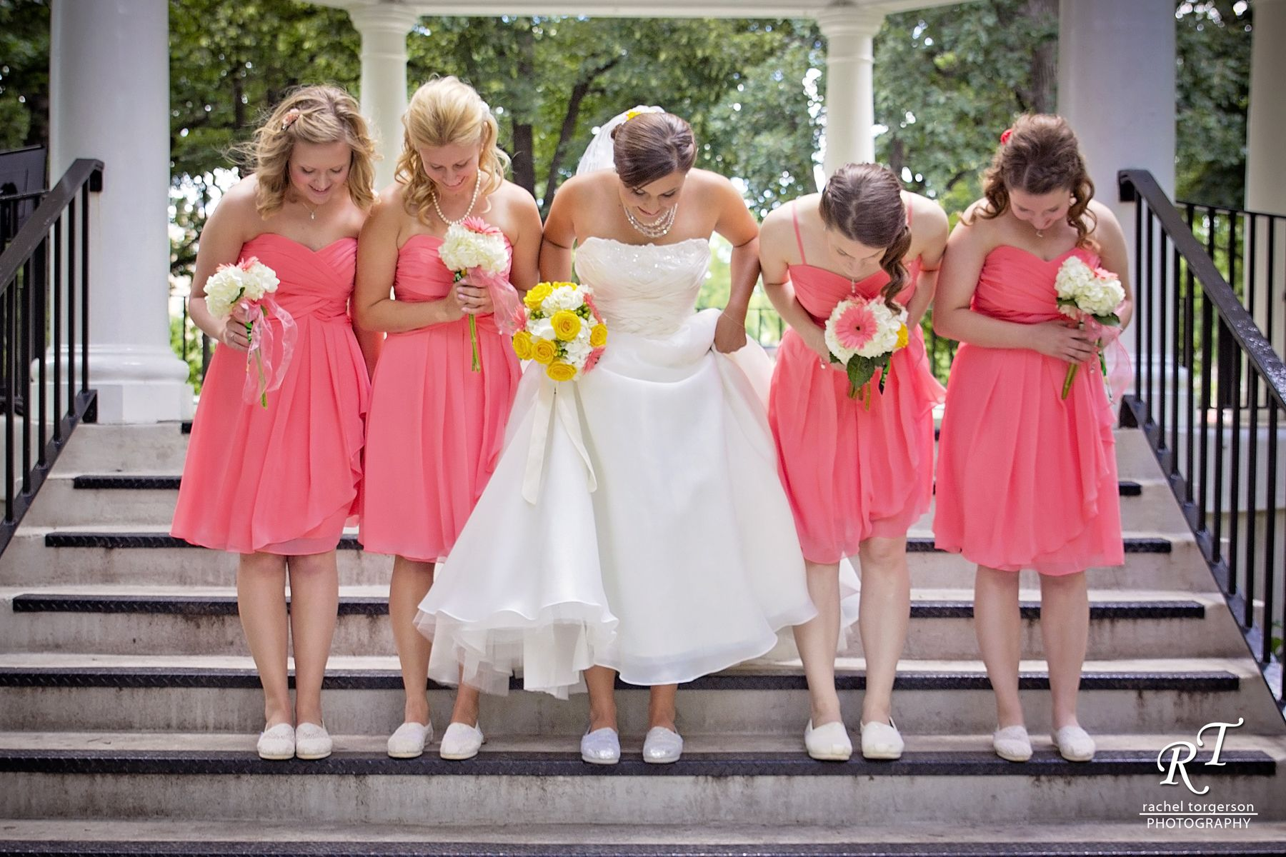 The Bride And Her Bridesmaids Show Off Their Wedding Toms Shoes
