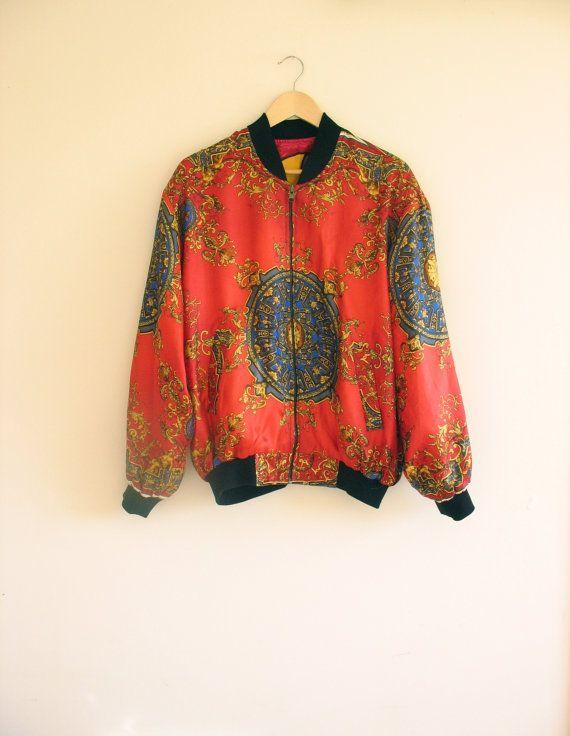 78b695c8e 90s red baroque reversible Picasso jacket. Art print baroque bomber ...