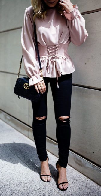 a325f1ab90c4 pink lace up top with jeans