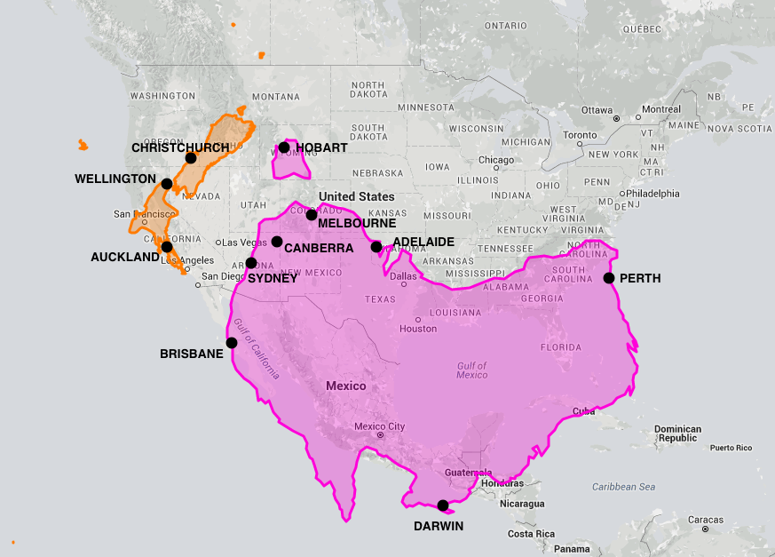 Australia and New Zealand compared to North America on the