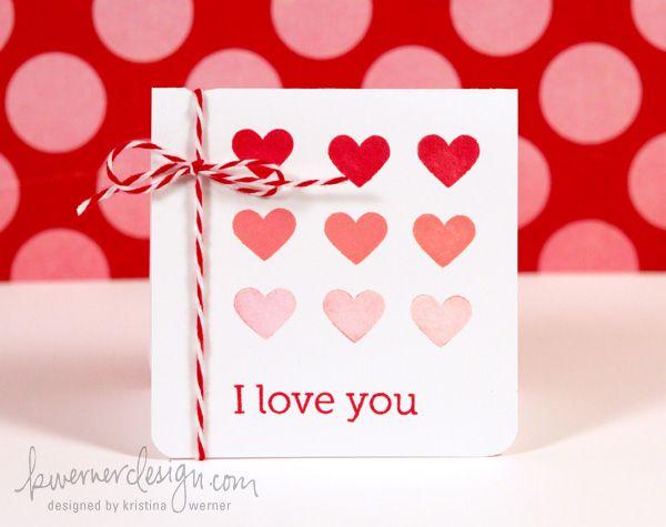 Ombre Heart Valentine's Day Card by Kristina Werner, http://www.kwernerdesign.com