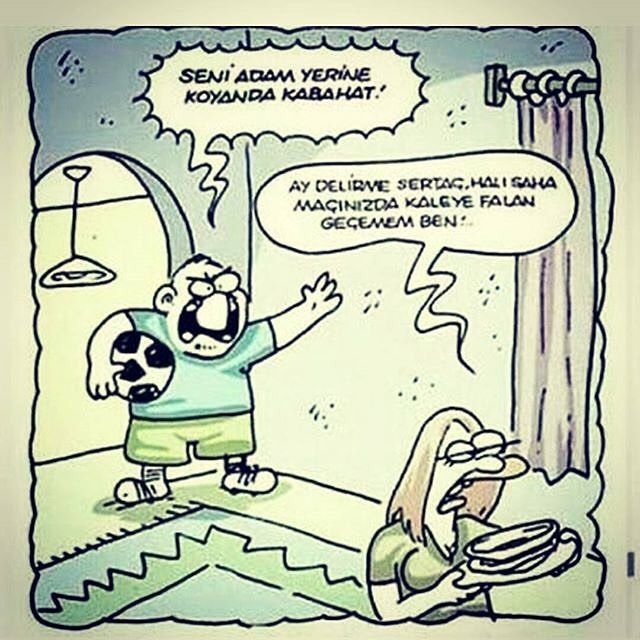Mizah Karikatür Karikatur Eğlence Futbol Halısaha Mizah