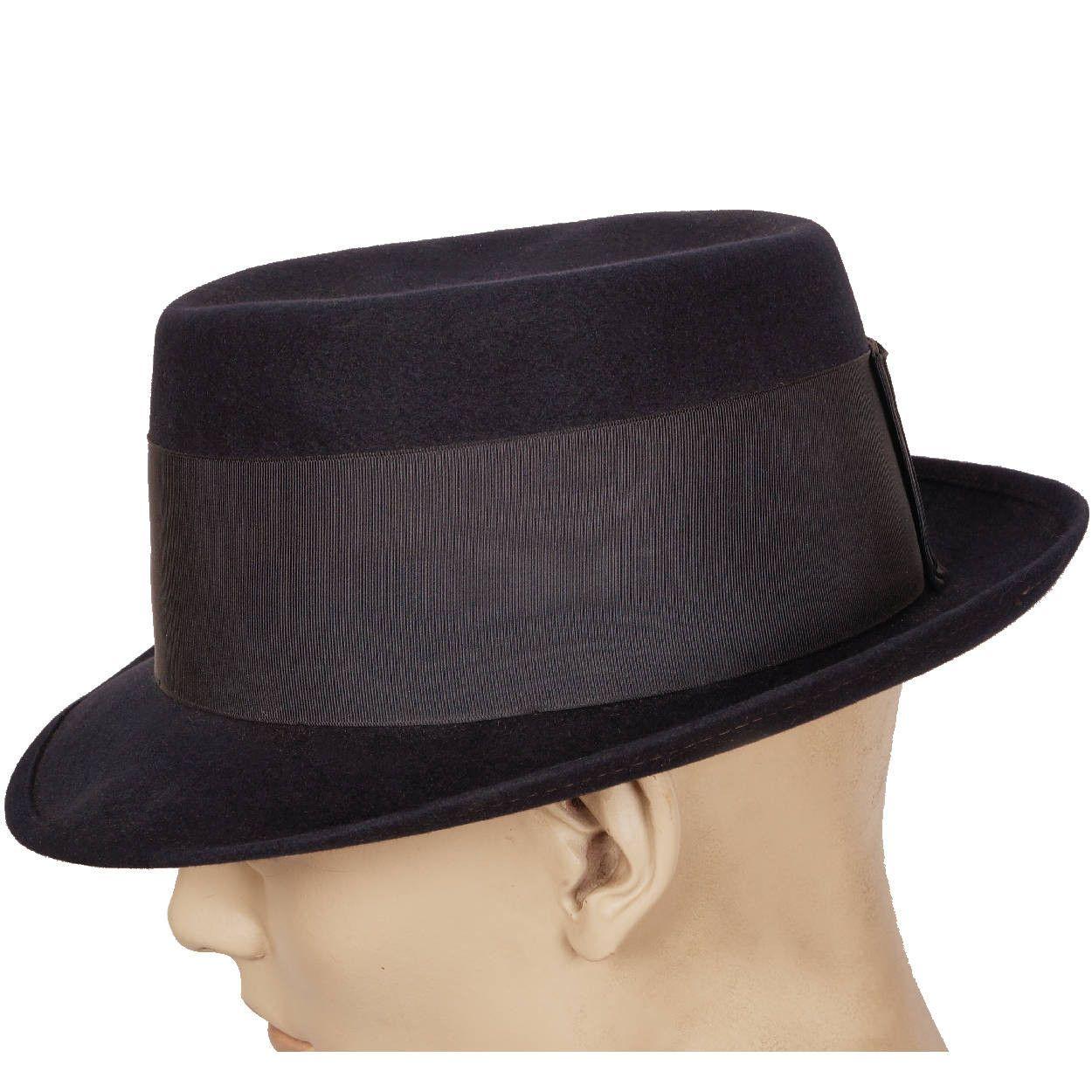 Vintage Royal Stetson Pork Pie Hat Navy Blue Flat Top Fedora Style Size 7 1  3d84802dd86