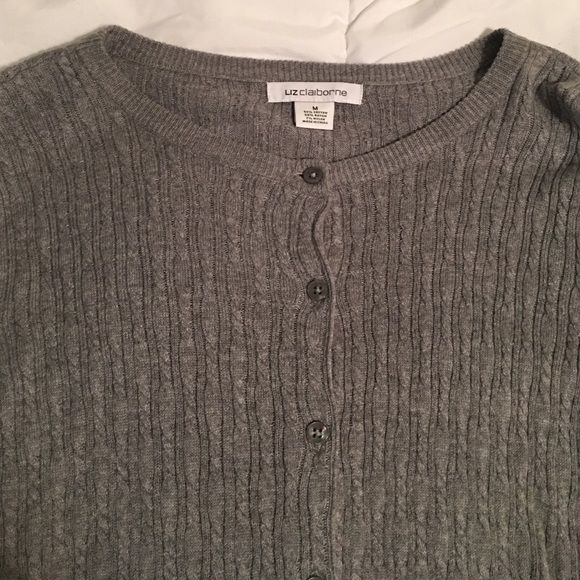 Cardigan Grey Liz Claiborne cardigan. Lightly threaded throughout cardigan with buttons down middle. Worn twice. Liz Claiborne Sweaters Cardigans