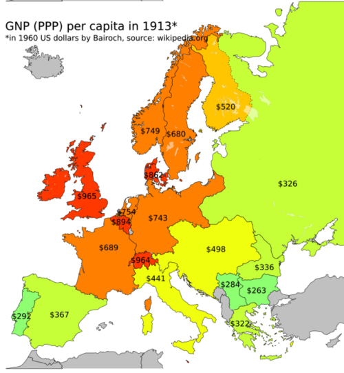 Gnp Ppp Per Capita In Europe 1913 Historical Geography And