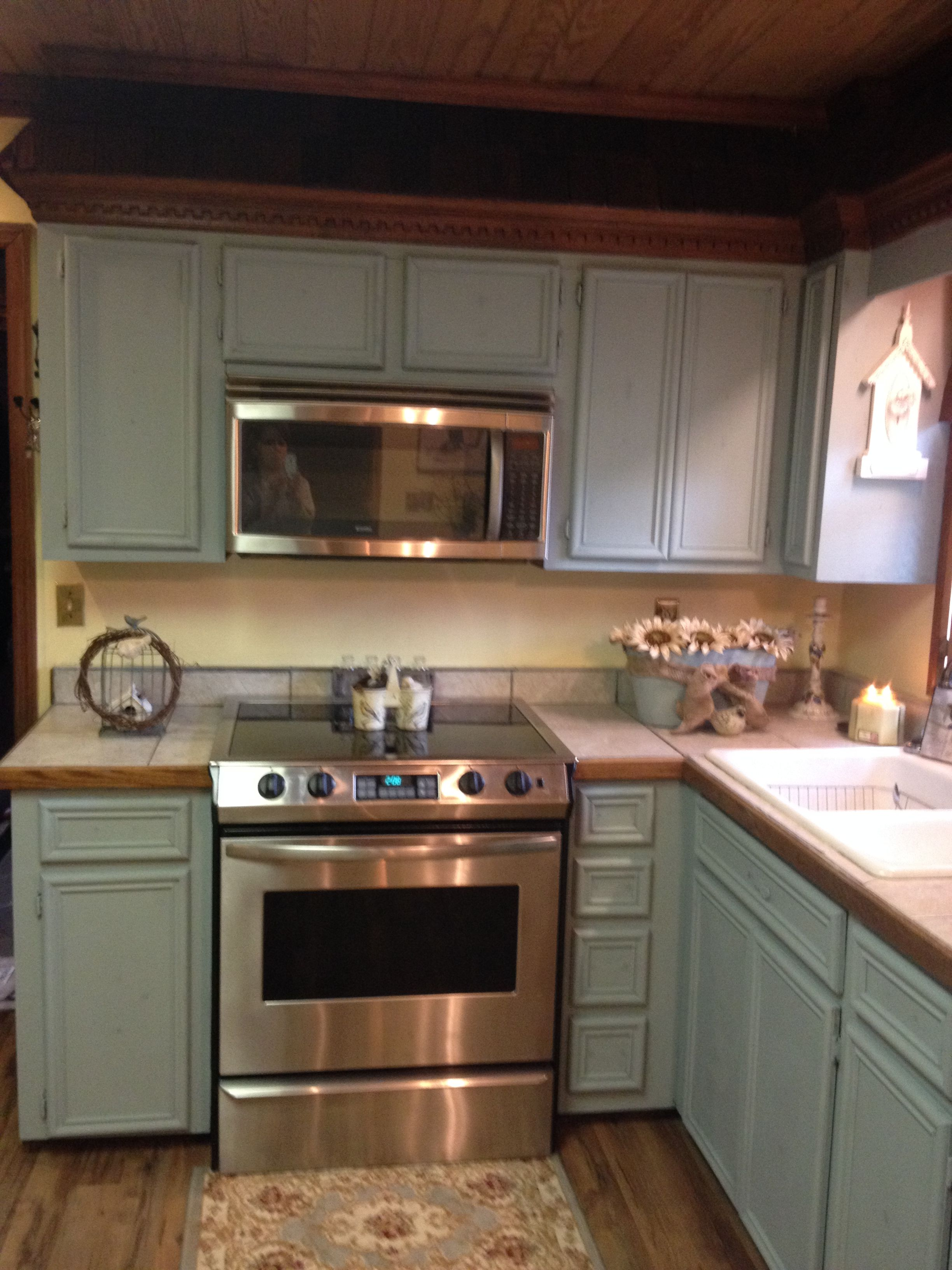 Updating My Old Oak Cabinets To Anne Sloan Chalk Paint Duck Egg Blue