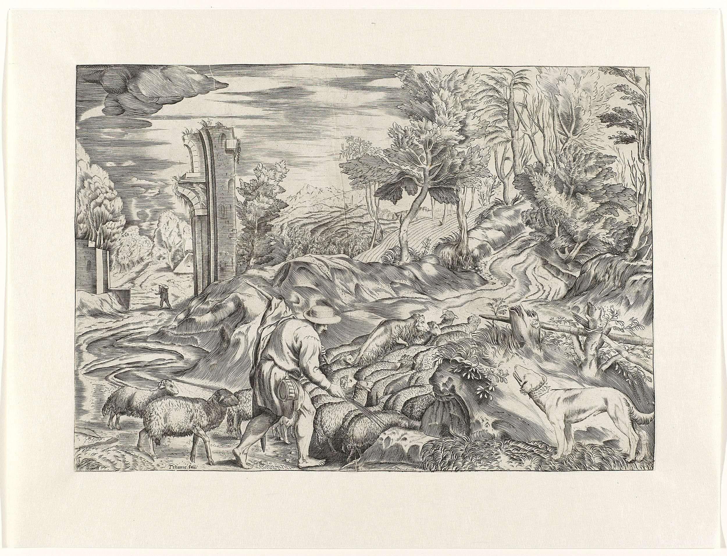 Anonymous | Landschap met herder en kudde schapen, Anonymous, c. 1550 - c. 1600 | Een jonge herder met zomerhoed leidt zijn kudde schapen op een heuvel rechts. Zijn hond kijkt toe op de rechtervoorgrond. Op de achtergrond tekent zich rechts een bosrijke heuvel en links een antieke ruïne af en een wandelaar.