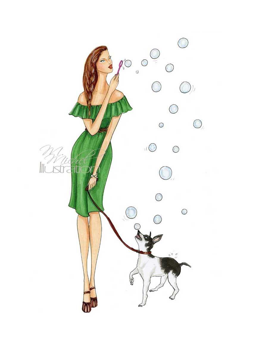 Fashion Illustration Print Adora-bubble by MMichelIllustration