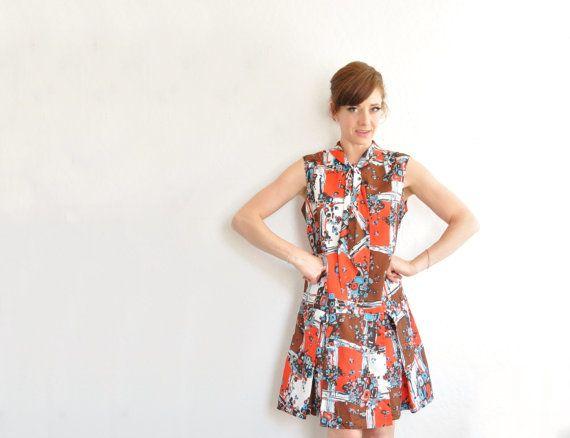 vintage groovy mod romper dress . one piece skort jumper shift . by DOTTO
