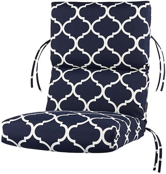 Bullnose High Back Outdoor Chair Cushion From Home Decorators | Navy And  White Pattern |