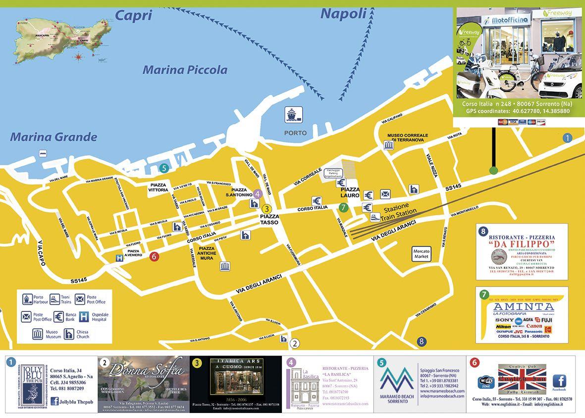 Map Of Sorrento Map of Sorrento | Southern Italy | Sorrento to amalfi, Sorrento