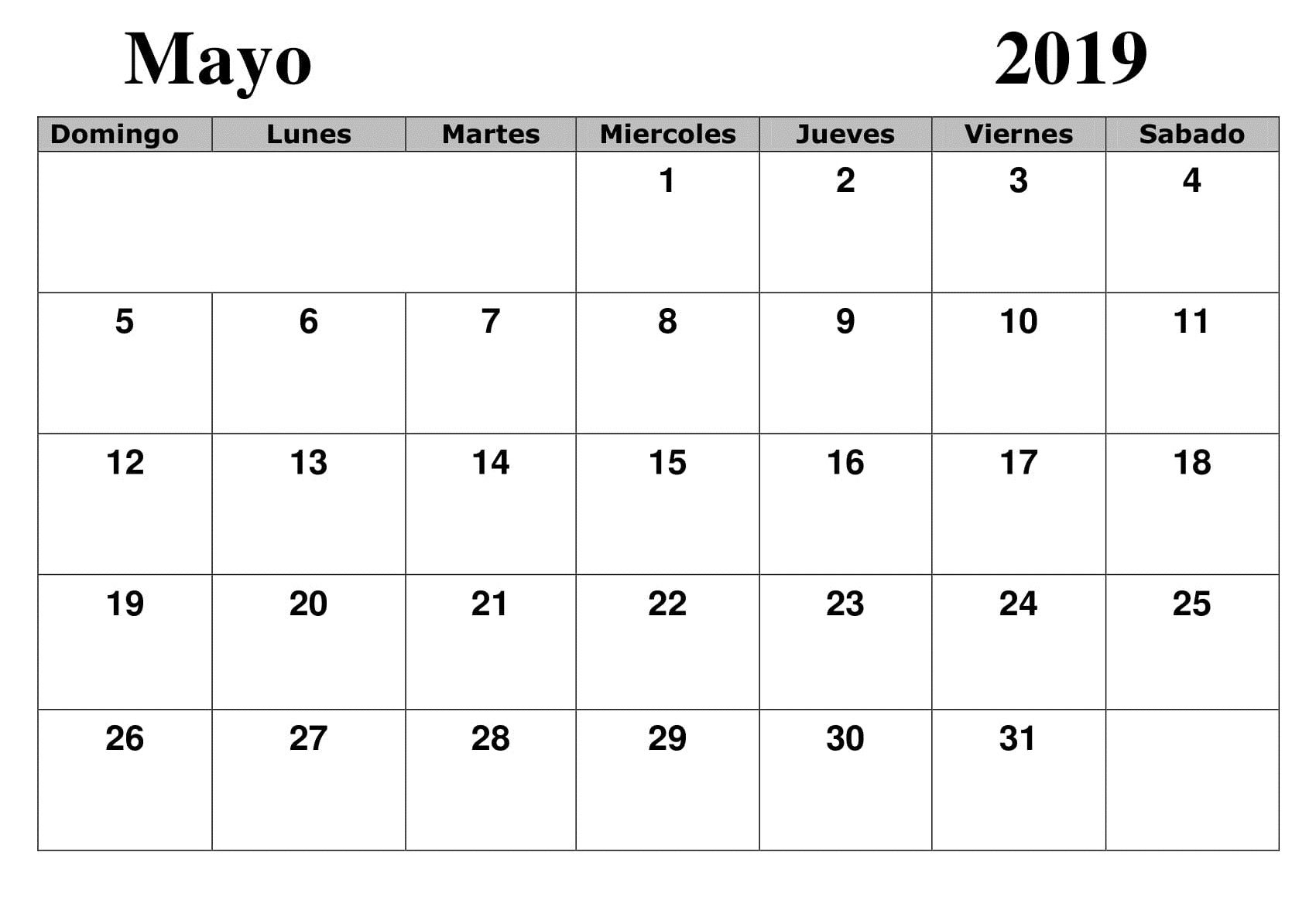 Modello Calendario Word.Calendario 2019 Mayo Word Calendario Mayo 2019 Para