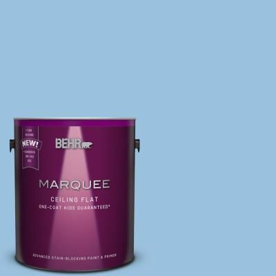 Behr Marquee 1 Gal M520 3 Tinted To Charismatic Sky One Coat Hide Flat Interior Ceiling Paint And Primer In One Interior Paint Behr Marquee Behr Marquee Paint
