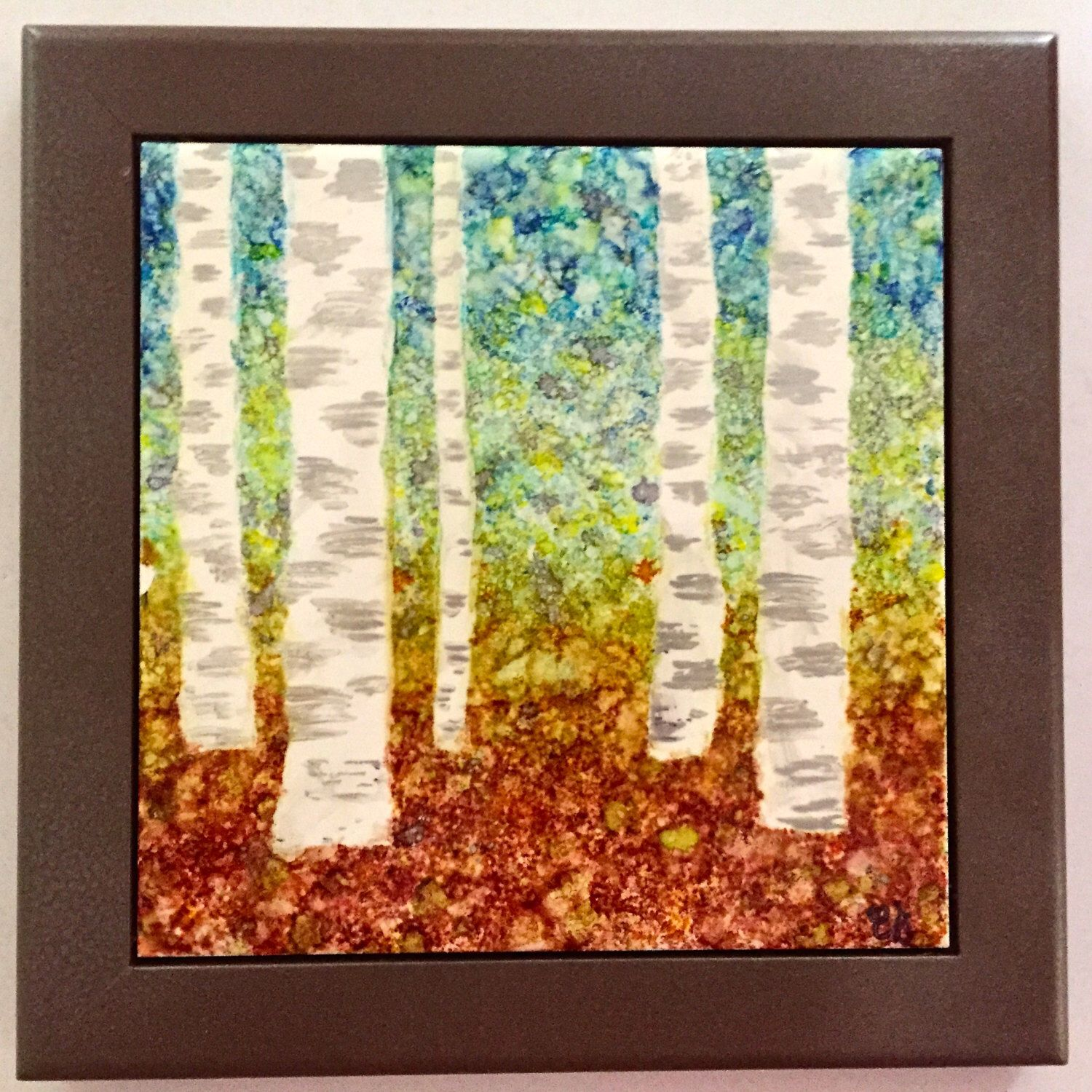 Framed ceramic tile trivet with hand painted alcohol ink birch trees framed ceramic tile trivet with hand painted alcohol ink birch trees in autumn by junecleaveddesigns on dailygadgetfo Choice Image