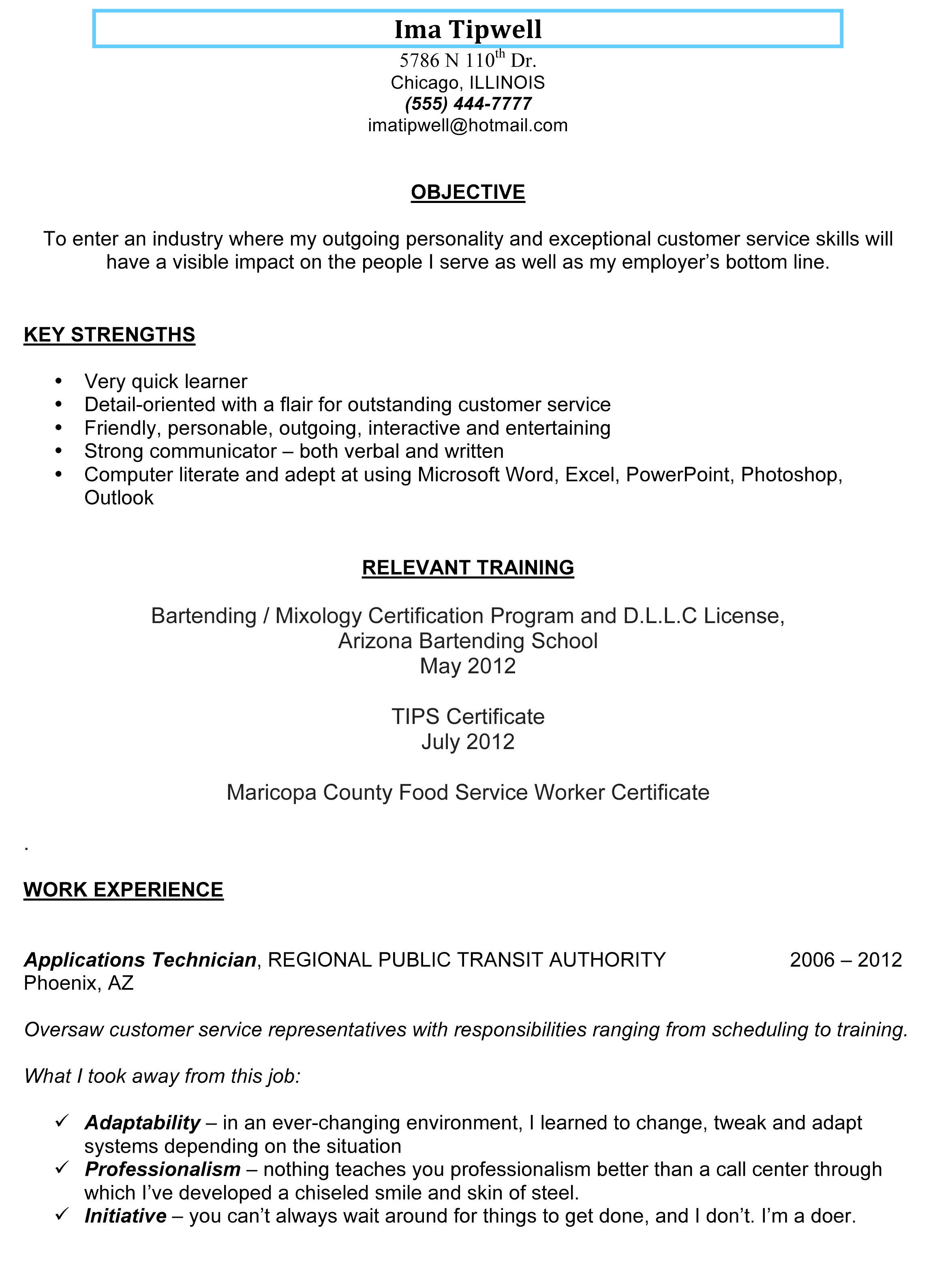 resume template for bartender no experience httpwwwresumecareerinfo