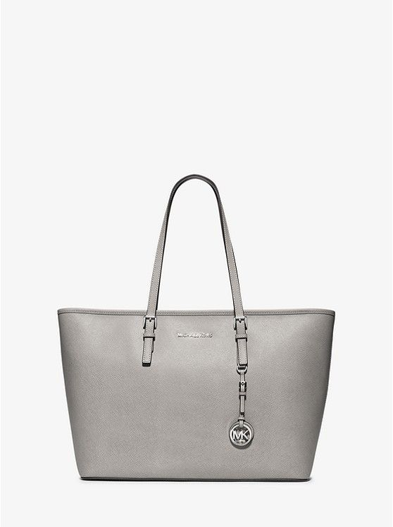 51f7329524dd Michael Kors Purses. Jet Set Travel Medium Saffiano Leather Top-Zip  Tote_preview0 Silver Tote Bags, Pebbled Leather