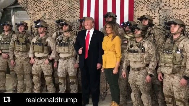 """First Lady Melania Trump on Instagram: """"#Repost @realdonaldtrump ・・・ @FLOTUS Melania and I were honored to visit our incredible troops at Al Asad Air Base in Iraq. GOD BLESS THE…"""""""