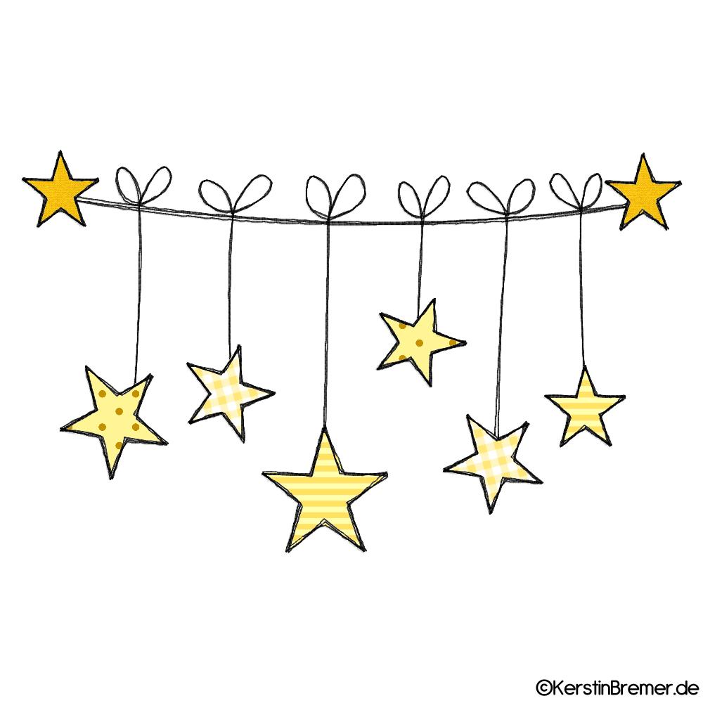 Sterne Wäscheleine Doodle Stickdatei