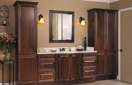 The dark pulls blend with te color of the cabinet