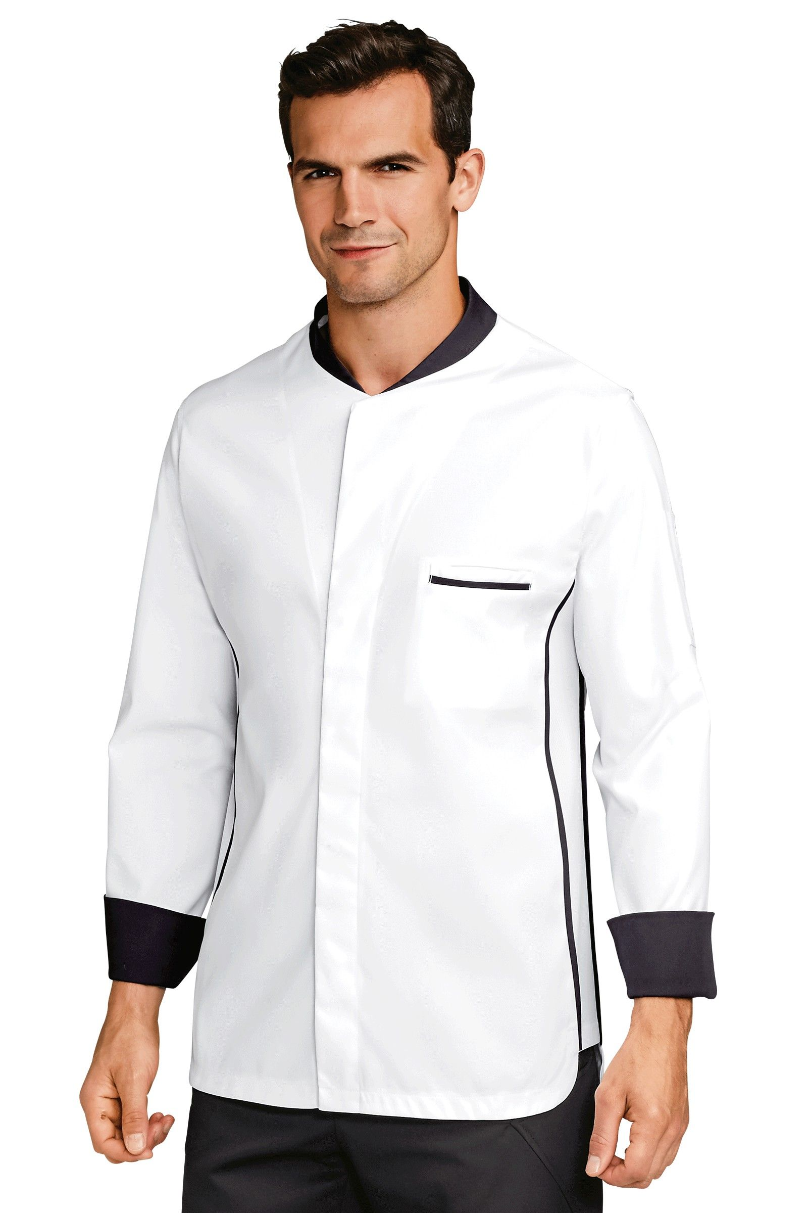 Chef's jacket with constrasting trimmings. 1 chest pocket