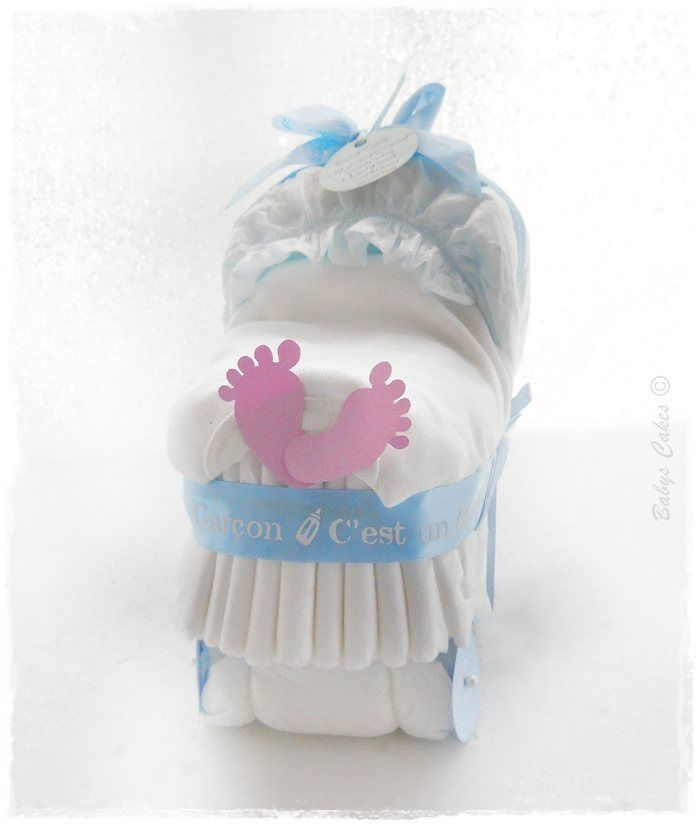 cadeau de naissance mini landau de couches garcon babys cakes cadeaux baby shower babyscakes. Black Bedroom Furniture Sets. Home Design Ideas